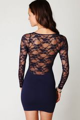 Free People Ginger Long Sleeve Lace Back Tunic in Blue (navy) - Lyst