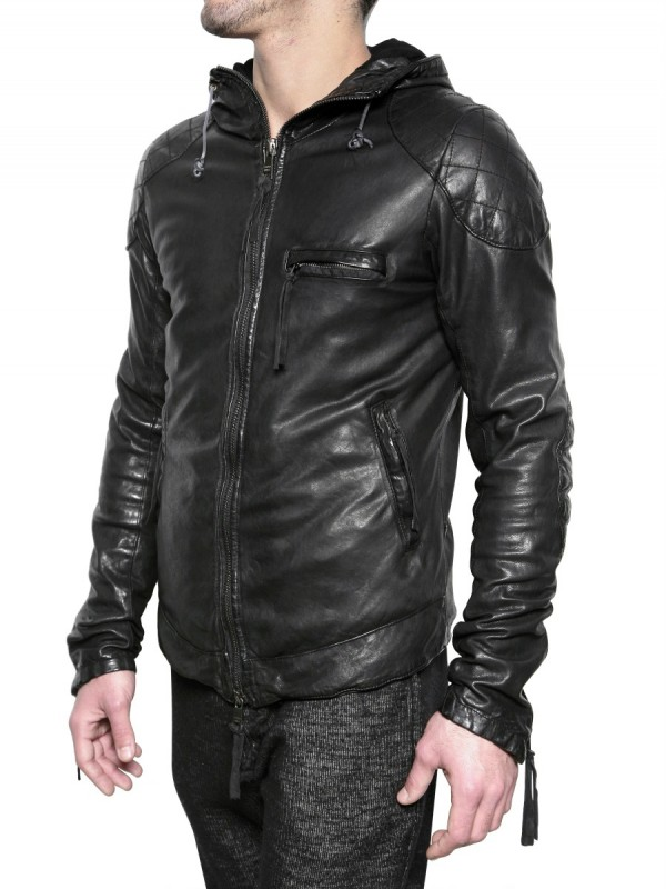 Giorgio brato Vegetable Treated Hooded Leather Jacket in Black for ...