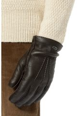 Gucci Classic Cashmerelined Leather Gloves in Brown for Men - Lyst