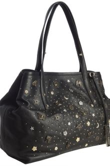 Jimmy Choo Black Leather Scarlet Charm Shoulder Tote - Lyst