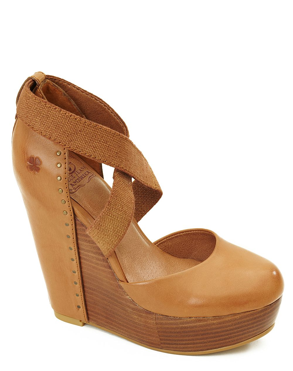 lucky brand nana leather covered wedges in brown cinnamon