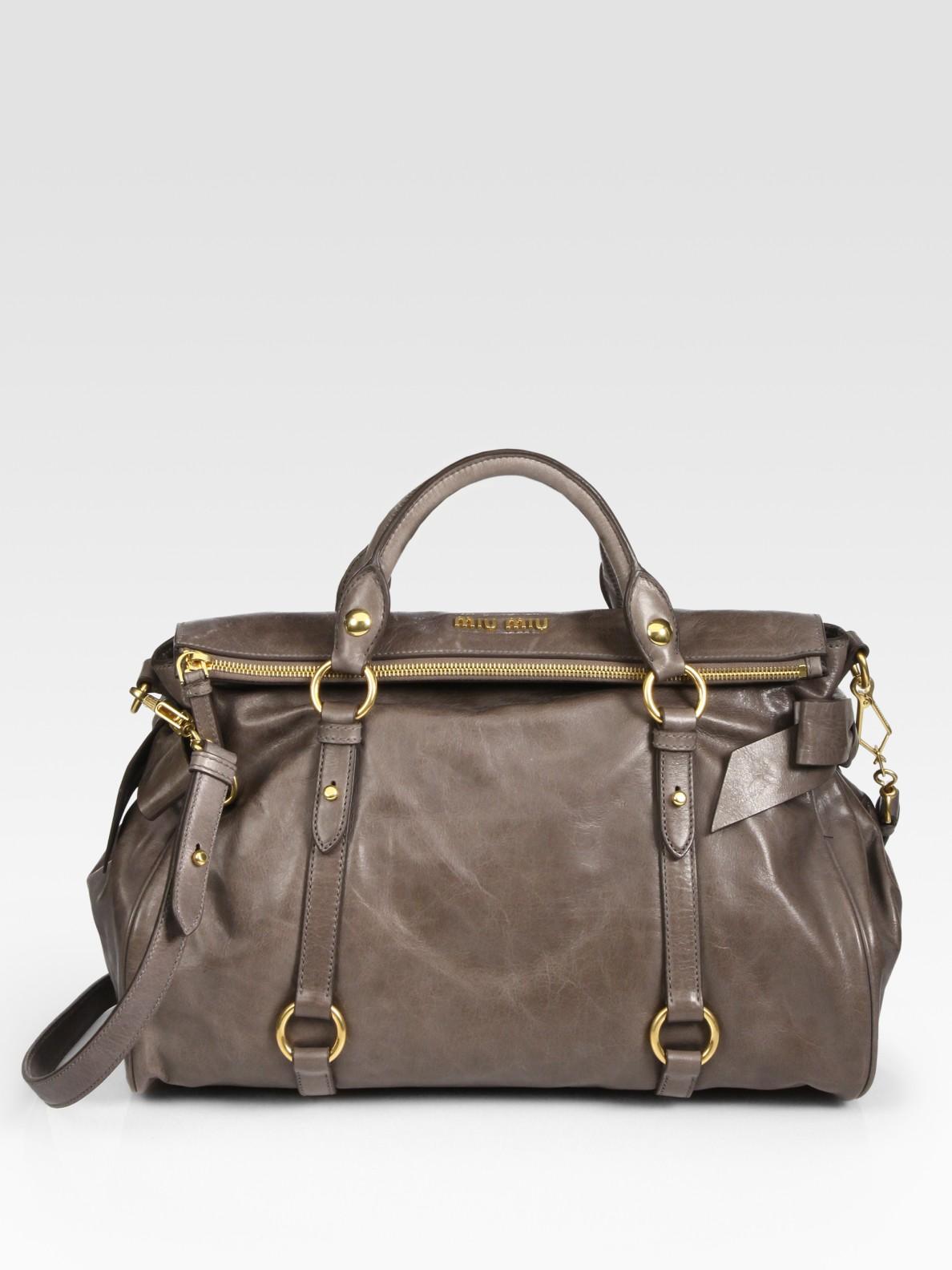 8bc59ee21e7e Miu miu Vitello Lux Large Bow Bag in Brown