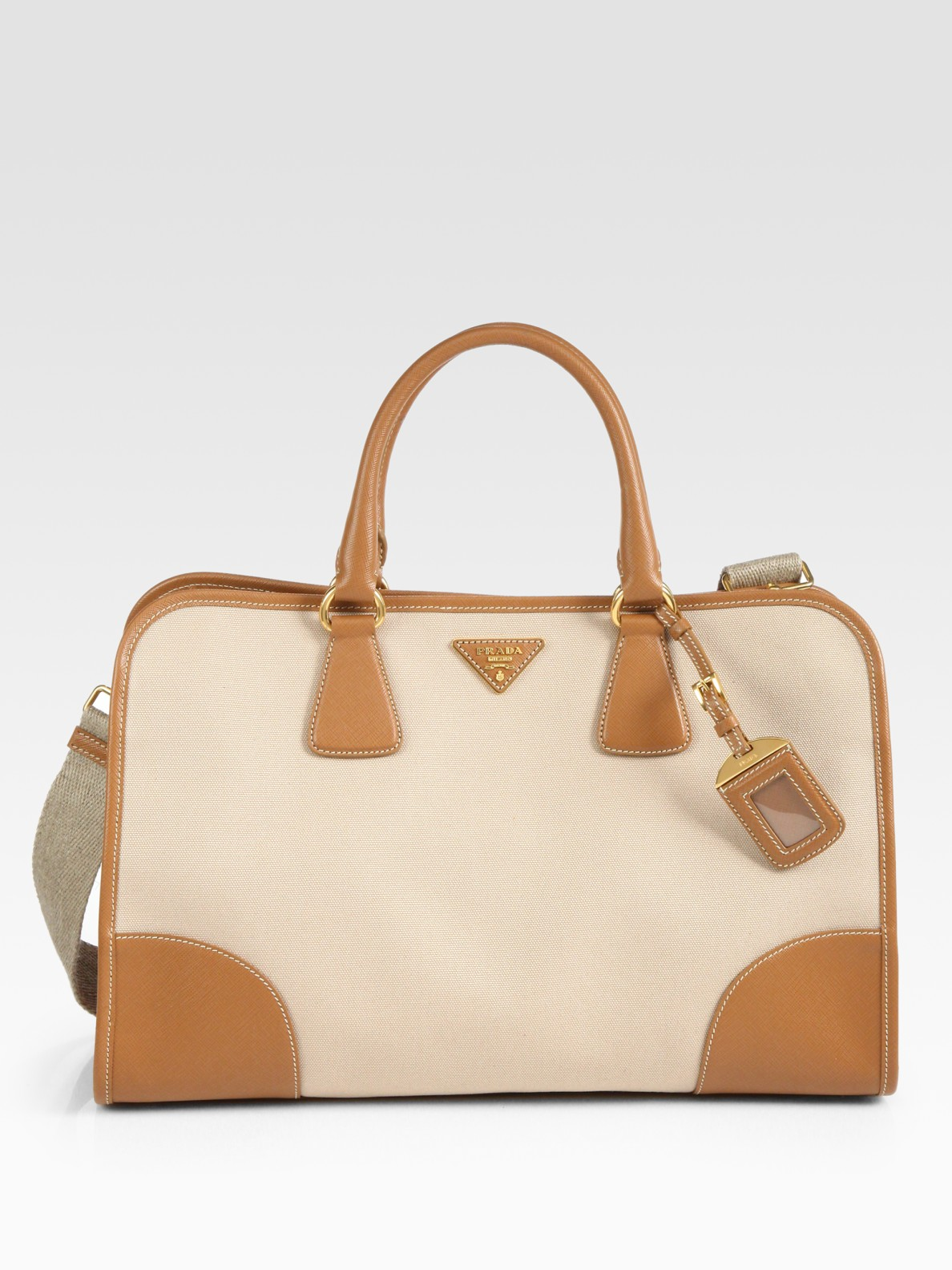 23a31c3f2621 Prada Saffiano Leather & Canvas Top Handle Bag in Natural - Lyst