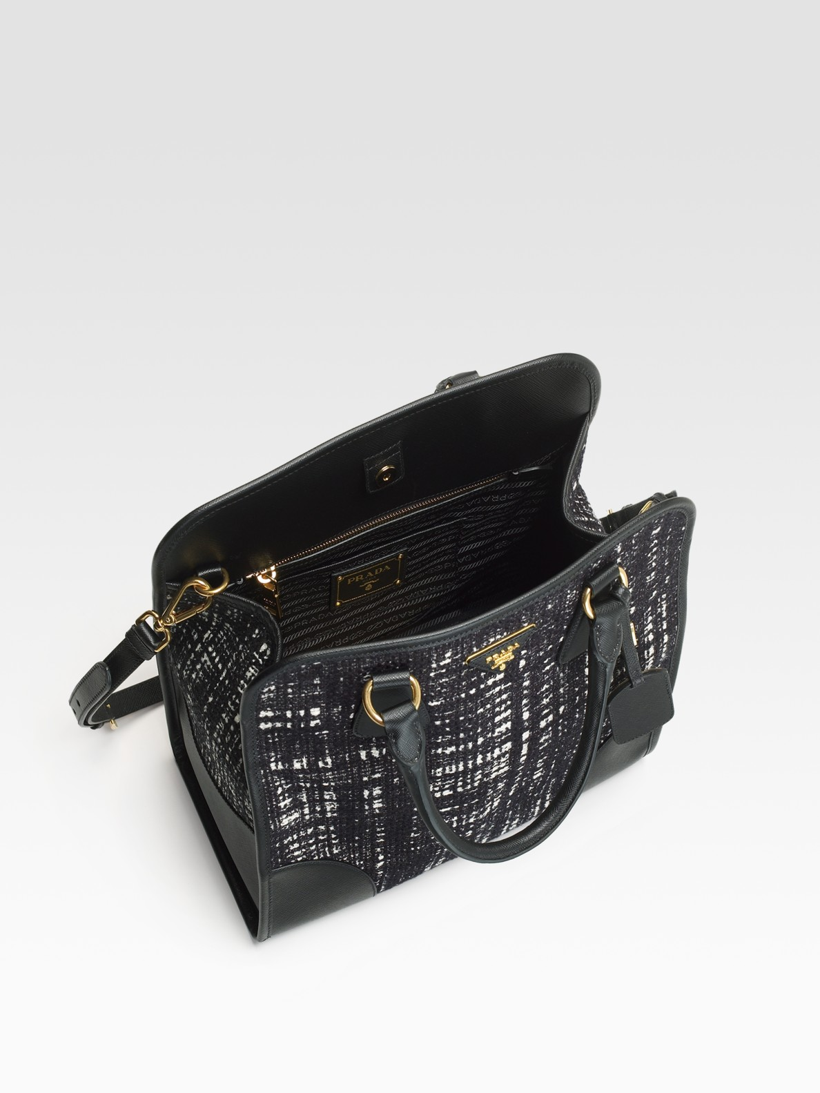 Prada Tweed North/South Tote with Saffiano Trim in Black | Lyst