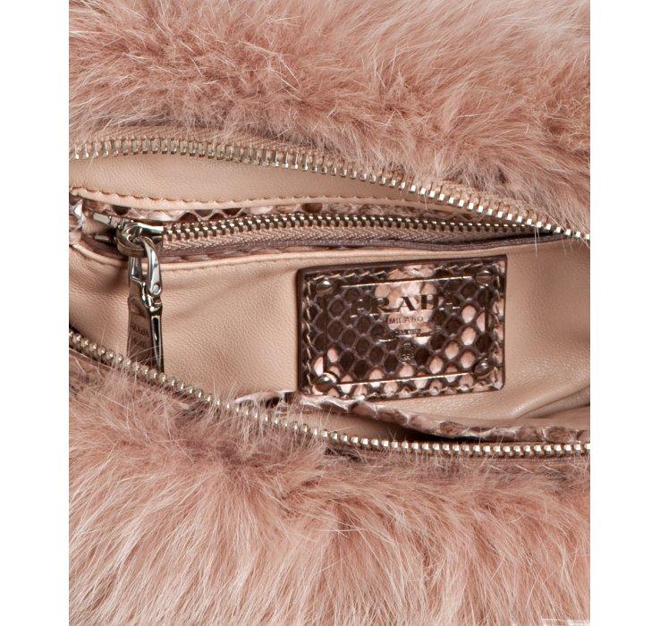 Prada Powder Pink Fox Fur and Python Chain Handle Bag in Pink ...
