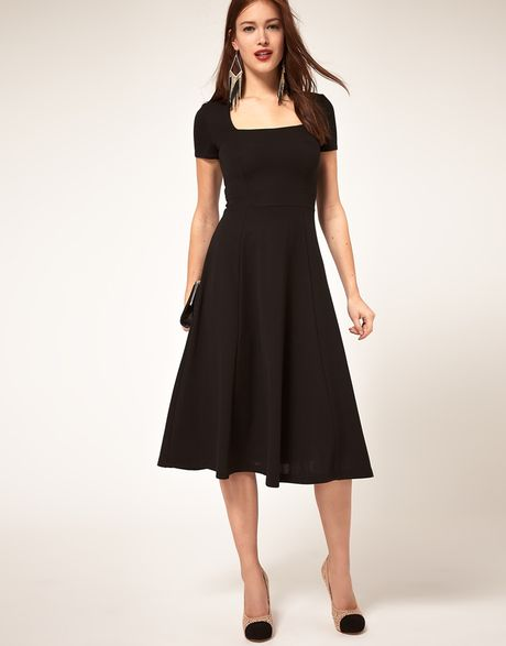 Asos Collection Midi Dress With Square Neck in Black - Lyst