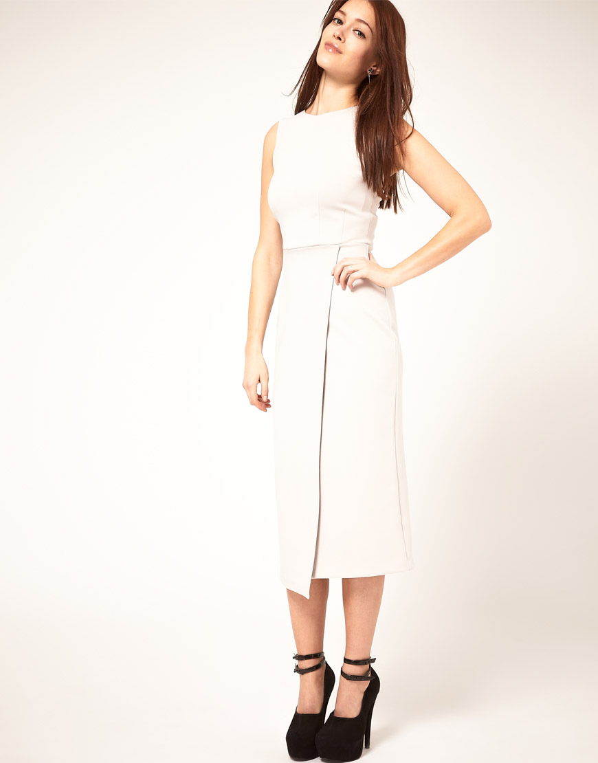 Asos collection Midi Pencil Dress With Wrap Skirt in White | Lyst