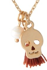 Swarovski Orelia Skull and Pearl Pendant Necklace in Gold - Lyst