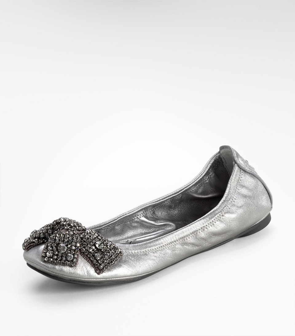 Tory Burch Metallic Eddie Ballet Flat with Crystal Bow in ...