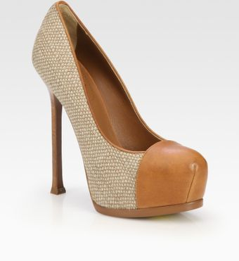 Yves Saint Laurent Tweed and Leather Platform Pumps - Lyst