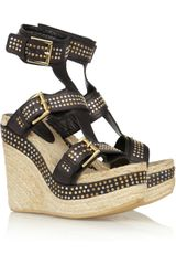 Alexander McQueen Studded Leather Espadrille Wedge Sandals