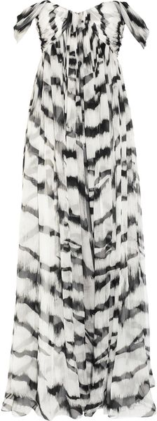 Alexander Mcqueen White Tiger Printed Silkchiffon Gown in Black (white) - Lyst