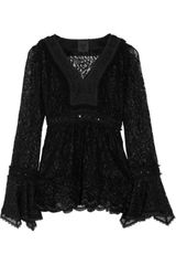 Anna Sui Ruffled Stretch-lace Top - Lyst