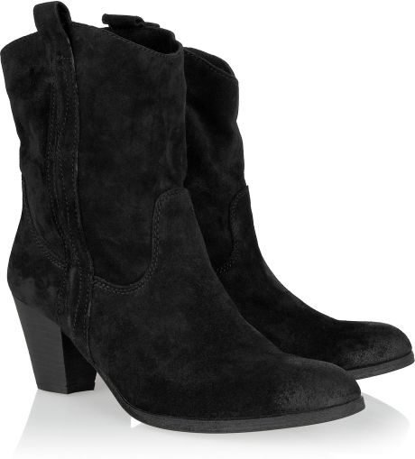 ash kenny suede cowboy ankle boots in black lyst