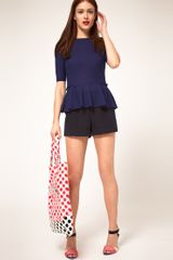 Asos Collection Asos Top with 40s Peplum in Blue (navy) - Lyst