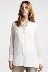Brunello Cucinelli Sheer Silk Blouse - Lyst