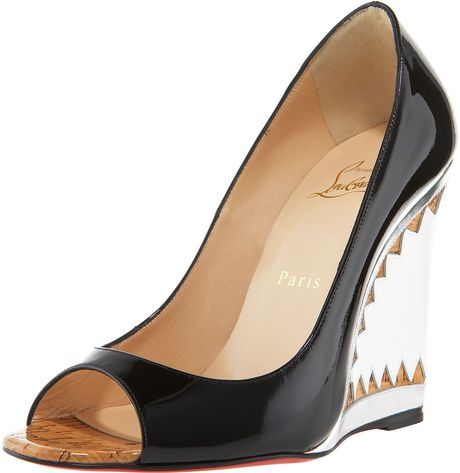 Christian Louboutin Miramar Patent & Metallic Wedge in Black - Lyst