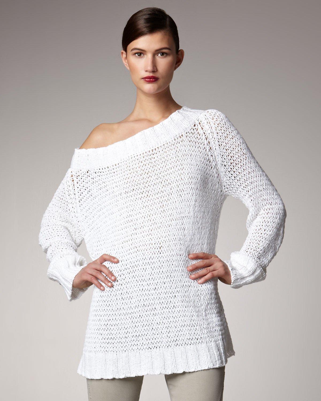Donna Karan New York Off-the-shoulder Sweater in White | Lyst