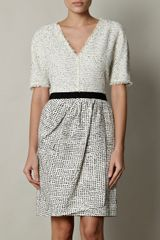 Giambattista Valli Flecked Silklinen and Tweed Dress in Beige (white) - Lyst