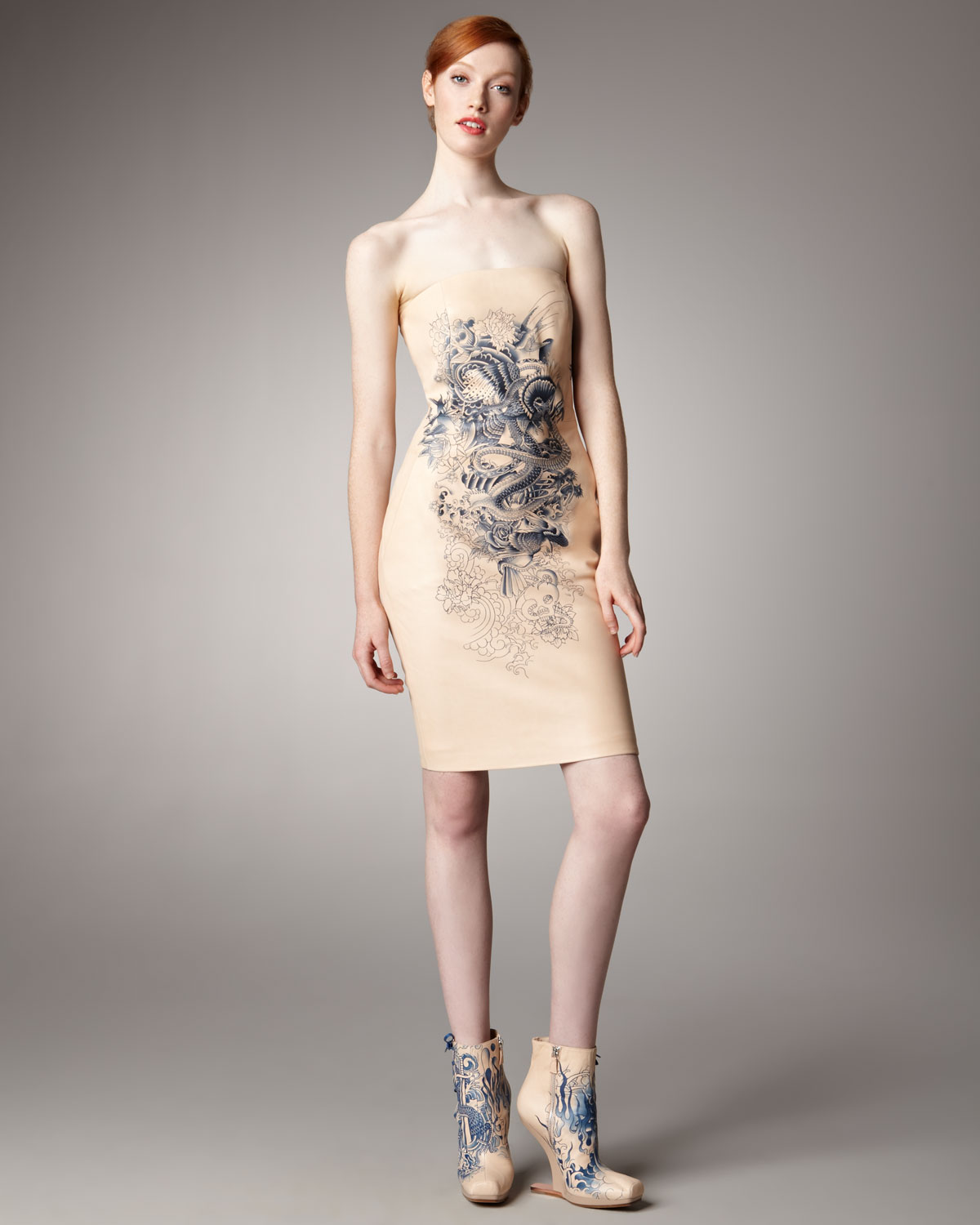 Lyst - Jean Paul Gaultier Tattoo-Print Leather Dress In Natural-1694