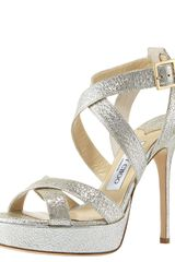 Jimmy Choo Vamp Crushed Metallic Platform Sandal - Lyst