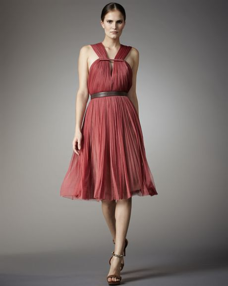 Lanvin Pleated Tulle Dress in Pink - Lyst