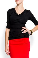 Mango Draped Neck Tshirt - Lyst