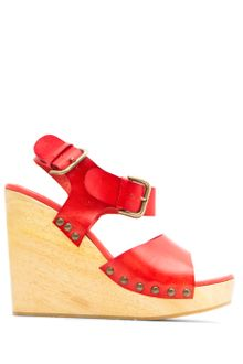Mango Touch Wood Wedge Sandal - Lyst