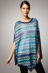Missoni Long Zigzag Knit Poncho, Blue - Lyst