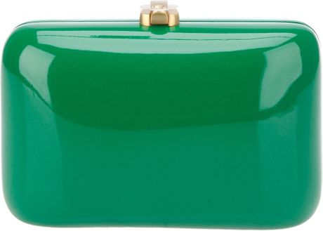 Rocio Leather Covered Wooden Clutch in Green - Lyst