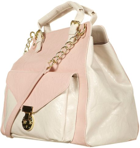 Topshop Pink Double Handle Chain Bag in Pink (pale pink)