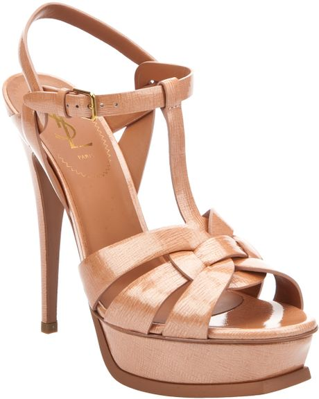 Saint Laurent Tobacco Tribute Sandal in Beige (tobacco) - Lyst