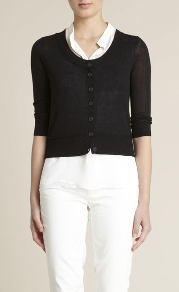 Adam Lippes Cropped Cardigan Sweater in Black - Lyst