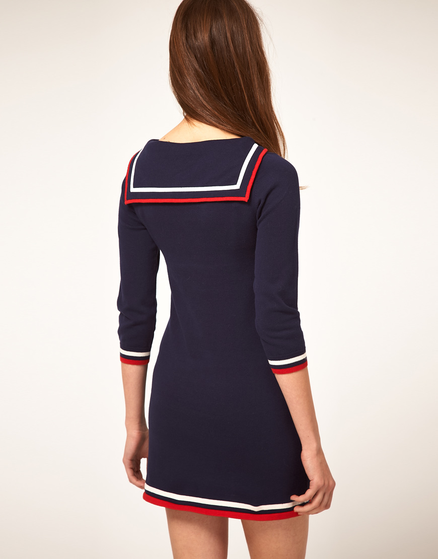 Lyst Asos Collection Knitted Dress With Sailor Collar In