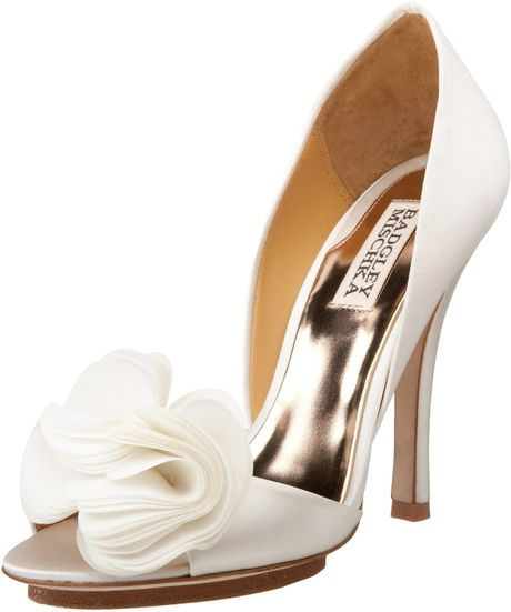 Badgley Mischka Womens Randall Peep Toe Pump in Gold (white satin) - Lyst