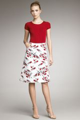Carolina Herrera Sparrowprint Skirt - Lyst