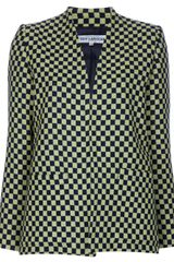 Guy Laroche Vintage Collarless Checked Jacket - Lyst