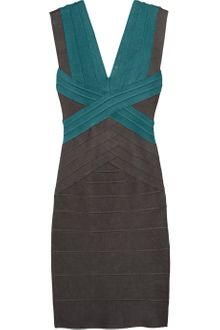 Hervé Léger Color-Block Bandage Dress - Lyst