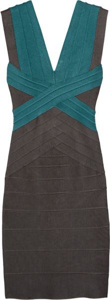 Hervé Léger ColorBlock Bandage Dress in Blue - Lyst