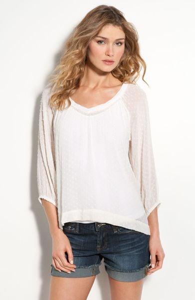 Lucky Brand Naomi Sheer Swiss Dot Blouse In White Nigori