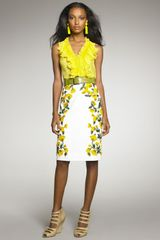 Oscar de la Renta Poppyembroidered Pencil Skirt - Lyst