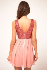 Tfnc Tfnc Babydoll Dress with Sequin Bodice in Pink (bubblegum) - Lyst