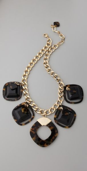 Tory Burch Resin Square Necklace - Lyst