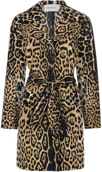Saint Laurent Leopard Print Coat In Animal Leopard Lyst