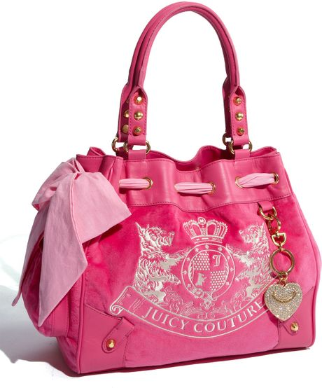 juicy couture scotty daydreamer velour tote in pink dragonfruit lyst. Black Bedroom Furniture Sets. Home Design Ideas