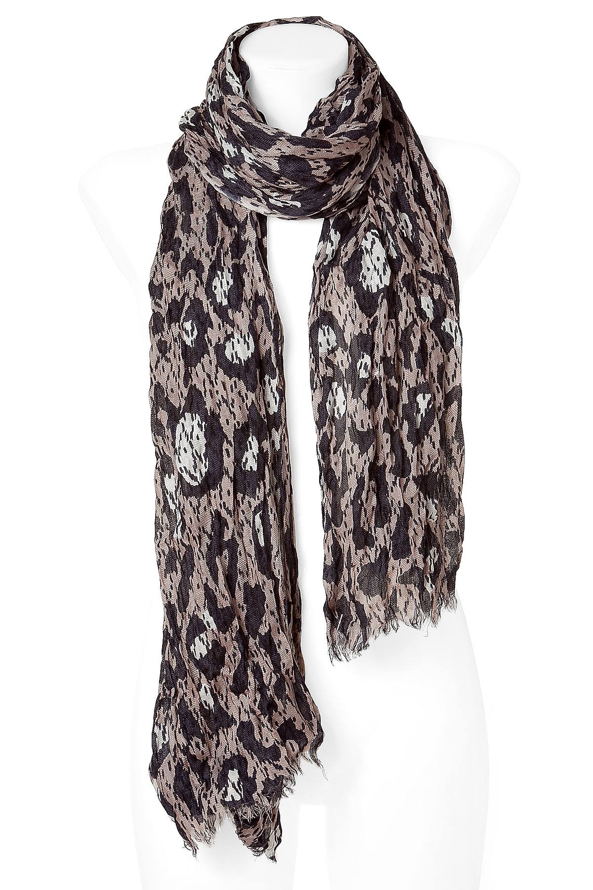closed faded brown wool scarf in brown for lyst