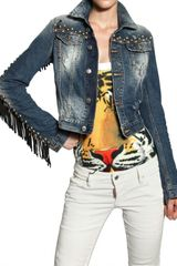 DSquared2 Leather Fringed Studded Denim Jacket - Lyst