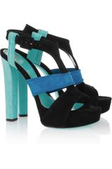 Gucci Tri-color Suede Platform Sandals - Lyst