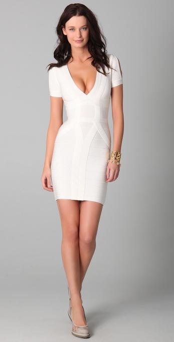 Hervé léger Short Sleeve V Neck Dress in White | Lyst