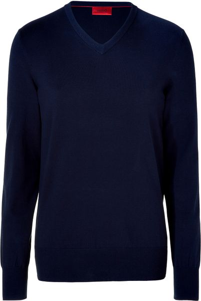 Hugo Open Blue Vneck Sweater in Blue for Men - Lyst